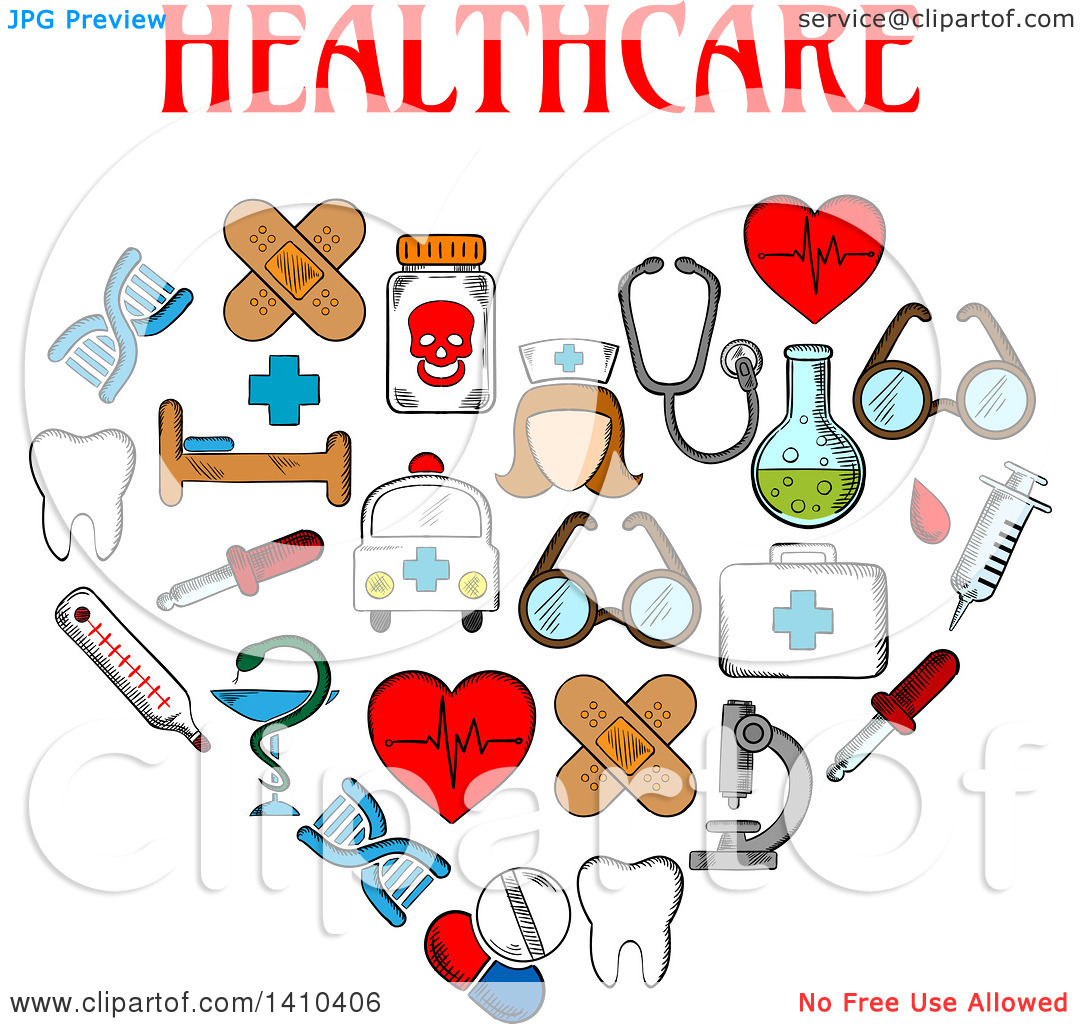 Clipart of a Heart Formed of Sketched Medical Icons with Text.