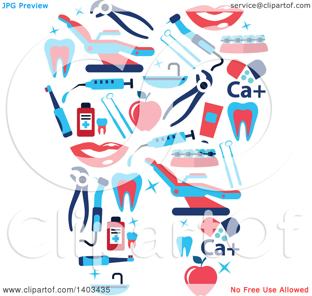 Clipart of a Tooth Formed of Dental Items.