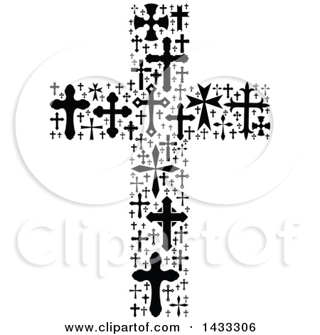 Clipart of a Black and White Crucifix Formed of Crosses.