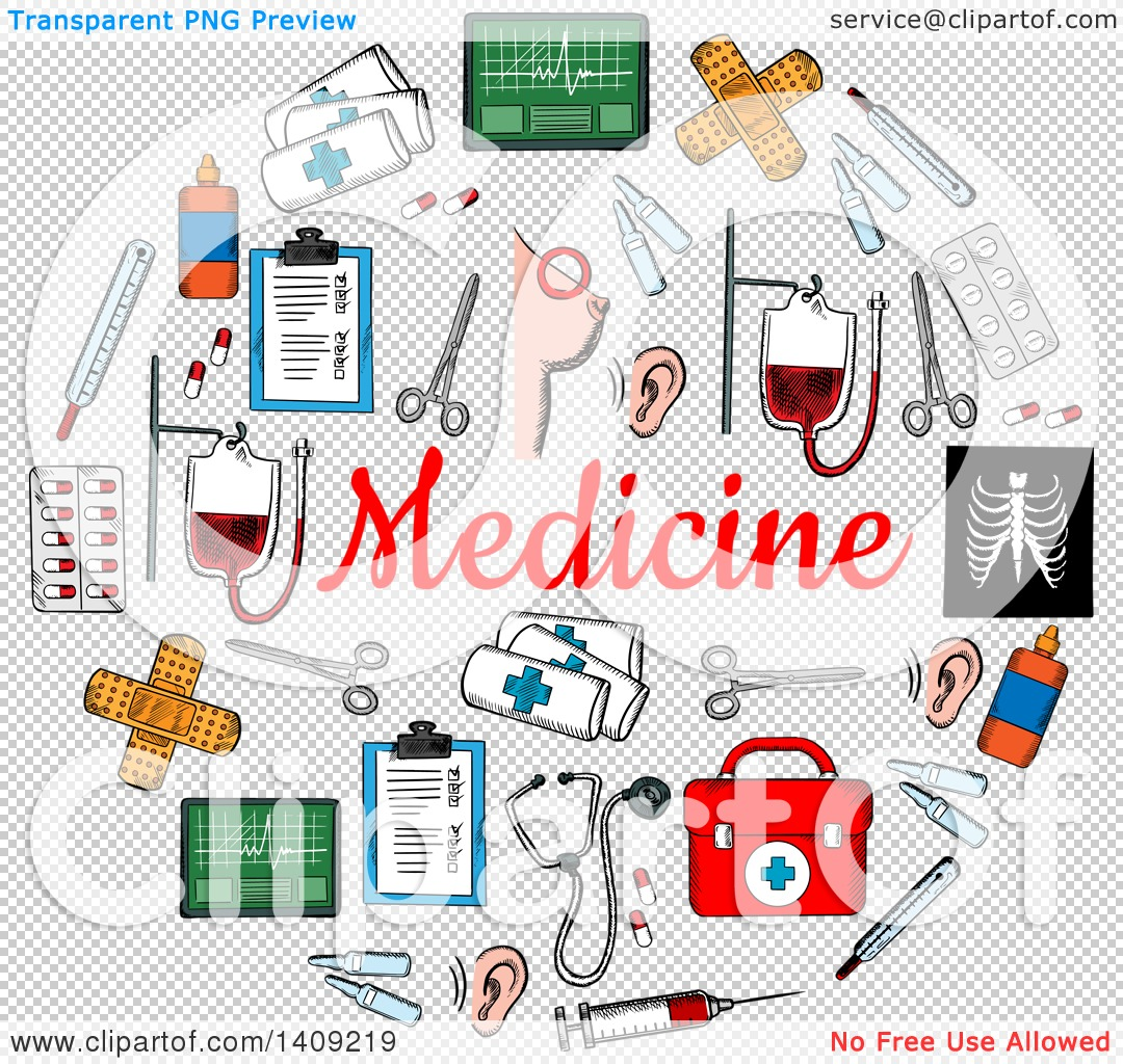 Clipart of a Sketched Circle Formed of Medical Icons, with Text.