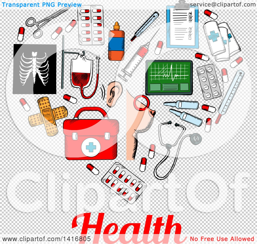 Clipart of a Sketched Heart Formed of Medical Icons with Health.