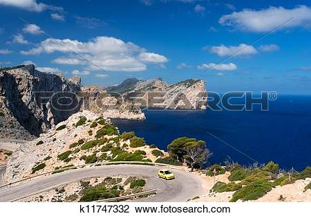 Stock Photo of Car on road near cape Formentor k11747332.