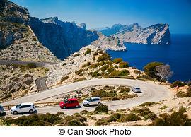 Stock Photos of Car on road near cape Formentor.