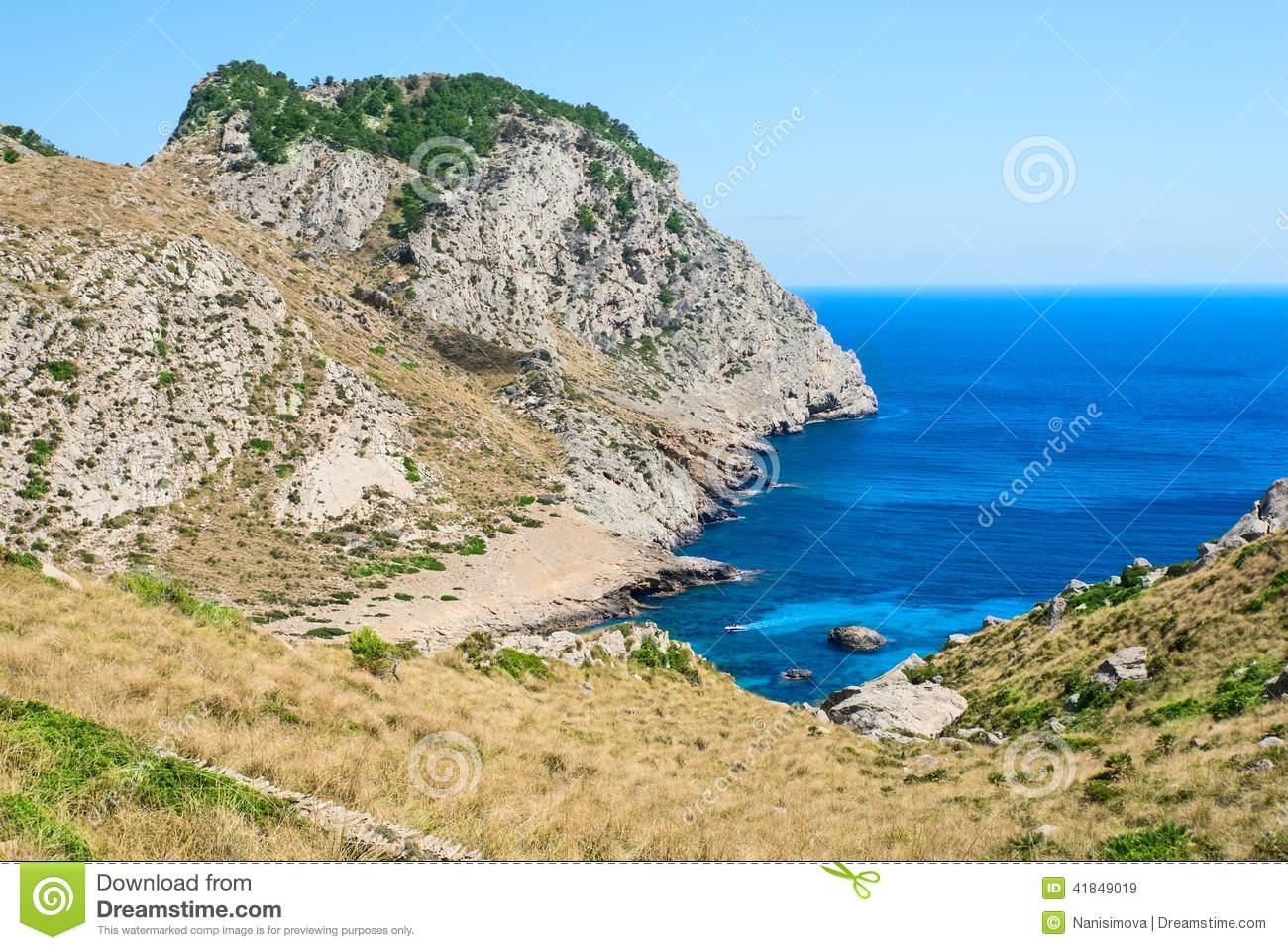 Beautiful Beach Bay Cala Figuera On Cape Formentor In Mallorca S.