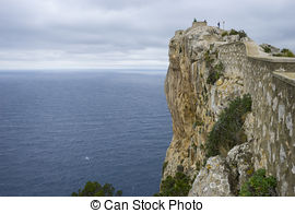 Stock Photography of rocks, views of Cape formentor in the tourist.