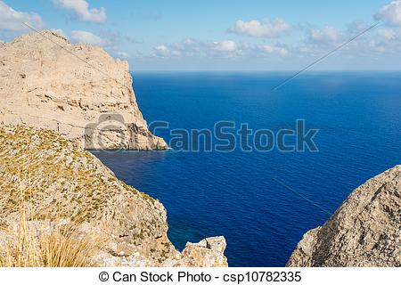 Stock Photos of Formentor cape to Pollensa high aerial sea view in.