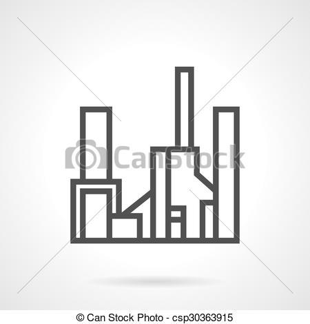 Vector Clip Art of Simple line gas factory vector icon.