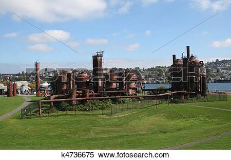 Stock Image of Gasworks Park at Seattle Washington k4736675.