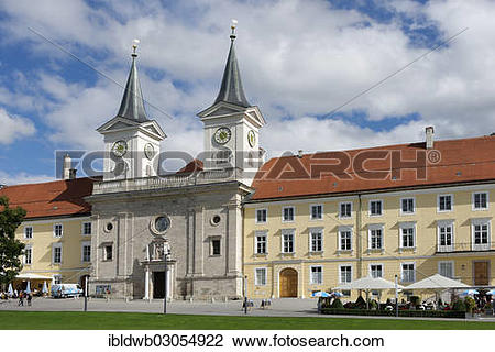 """Stock Photo of """"Kloster Tegernsee Abbey with the church of St."""