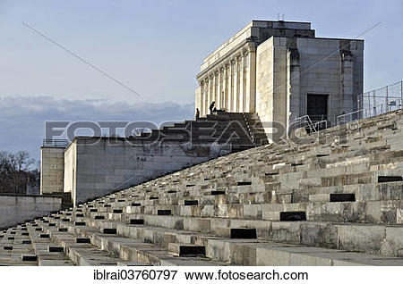 "Picture of ""Large grandstand at Zeppelinfeld, Zeppelin Field, Nazi."