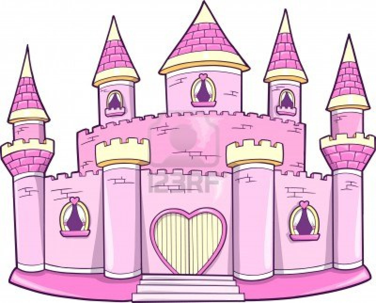 Cute Pink Princess Queen Royal Castle Vector Illustration Stock.