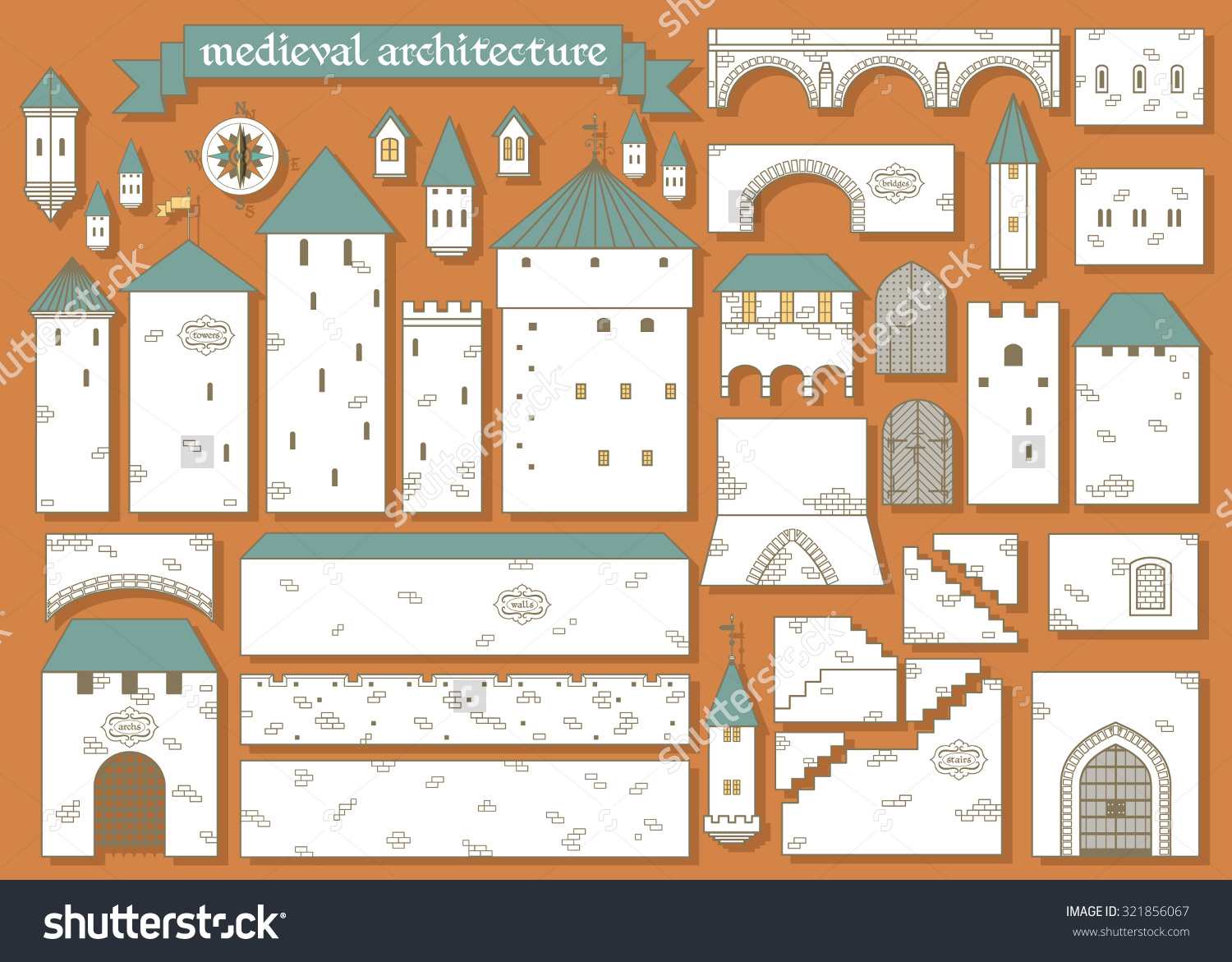Vector Illustration: Graphic Elements Parts Of The Middle Ages.
