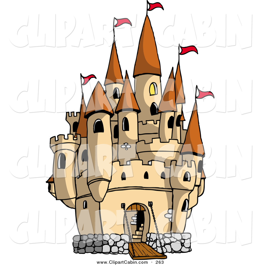 Vector Clip Art of a Large Royal Castle with the Gate down for.