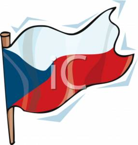 Clipart Picture of the Flag of the Czech Republic.