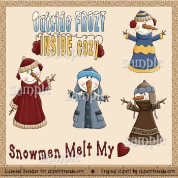 Snowman Sweaters by Clipart 4 Resale (Formerly Whimsy Primsy.