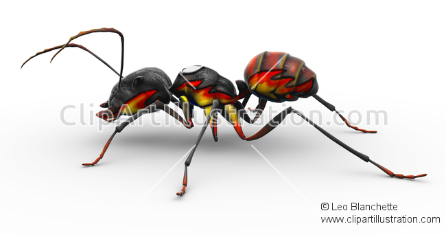ClipArt Illustration of Fire Ant family Formicidae with Flame Job.