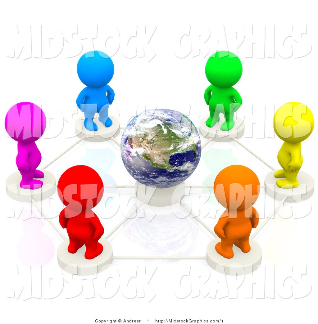 3d Clip Art of a Multicolored Group of People Forming a Global.