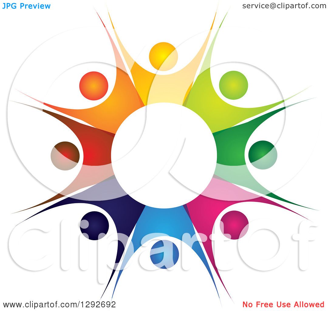 Clipart of a Team Circle of Colorful Cheering People Forming a.