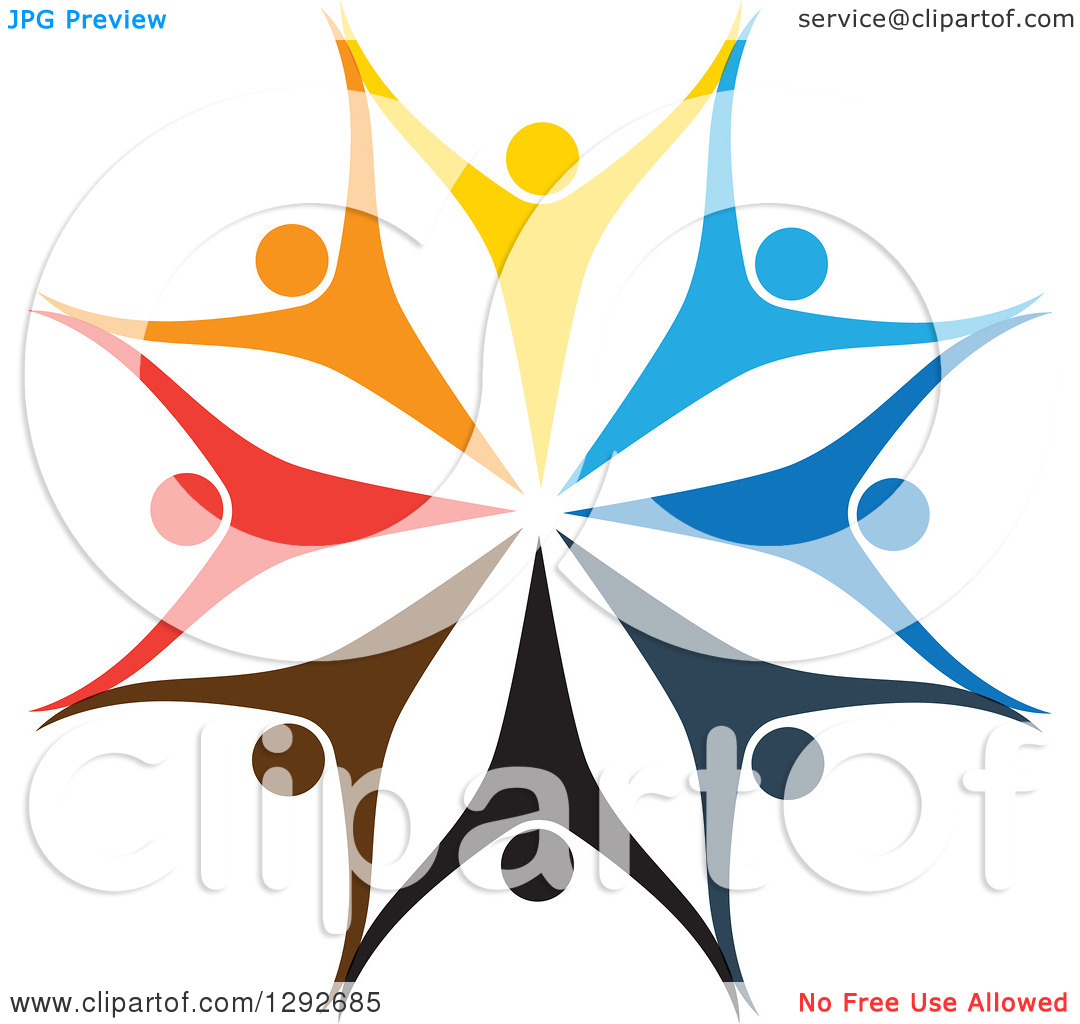 Clipart of a Team Circle of Colorful Cheering People Holding Hands.