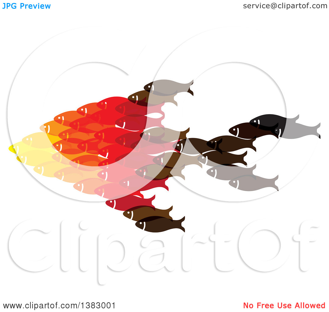 Clipart of a Group of Fish Forming a Big Fish.