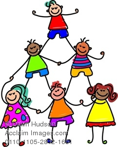 Clipart Image of A Group Of Happy And Diverse Boys And Girls.
