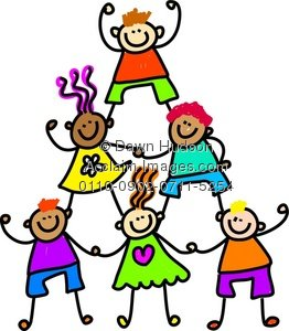 Clipart Illustration of a Group of Happy and Diverse Kids Forming.