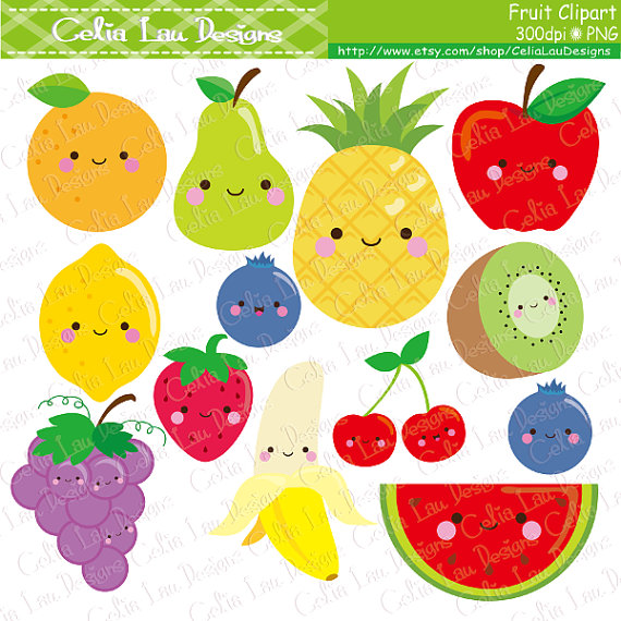 Kawaii Fruit Clipart Cute Fruit Clip Art Food by CeliaLauDesigns.