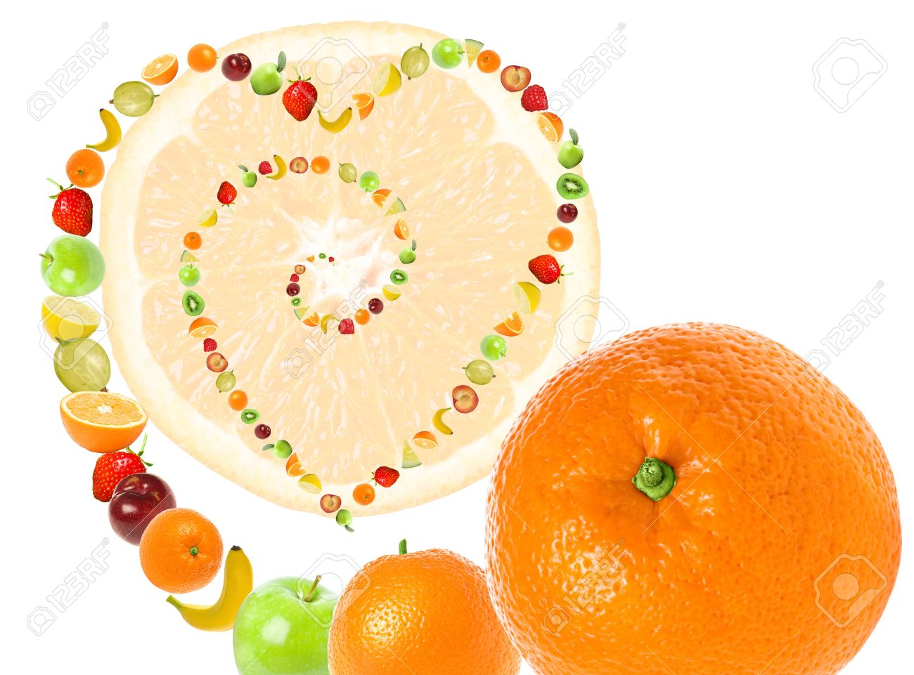 Fruit Abstract Imaging Love To Fruits And Healthy Diet. Line.