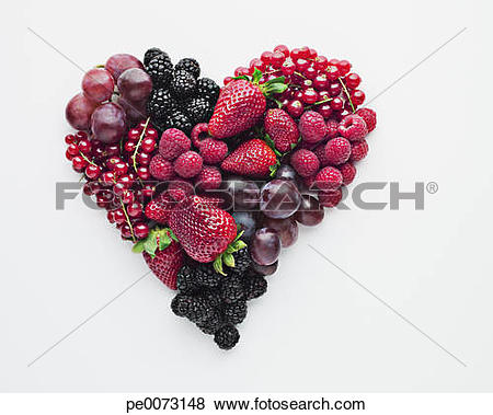Pictures of Fruit forming heart.