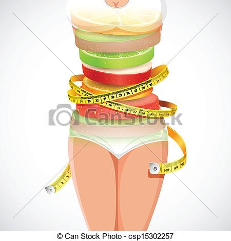 Clipart Vector of Healthy and Slimming Food.
