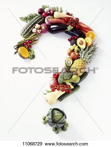 Stock Photograph of Fresh Fruit and Veggies Forming a Question.