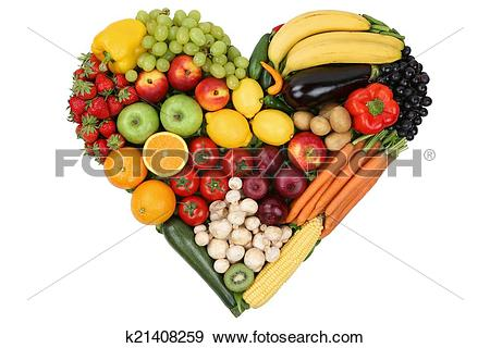 Stock Photograph of Fruits and vegetables forming heart love topic.