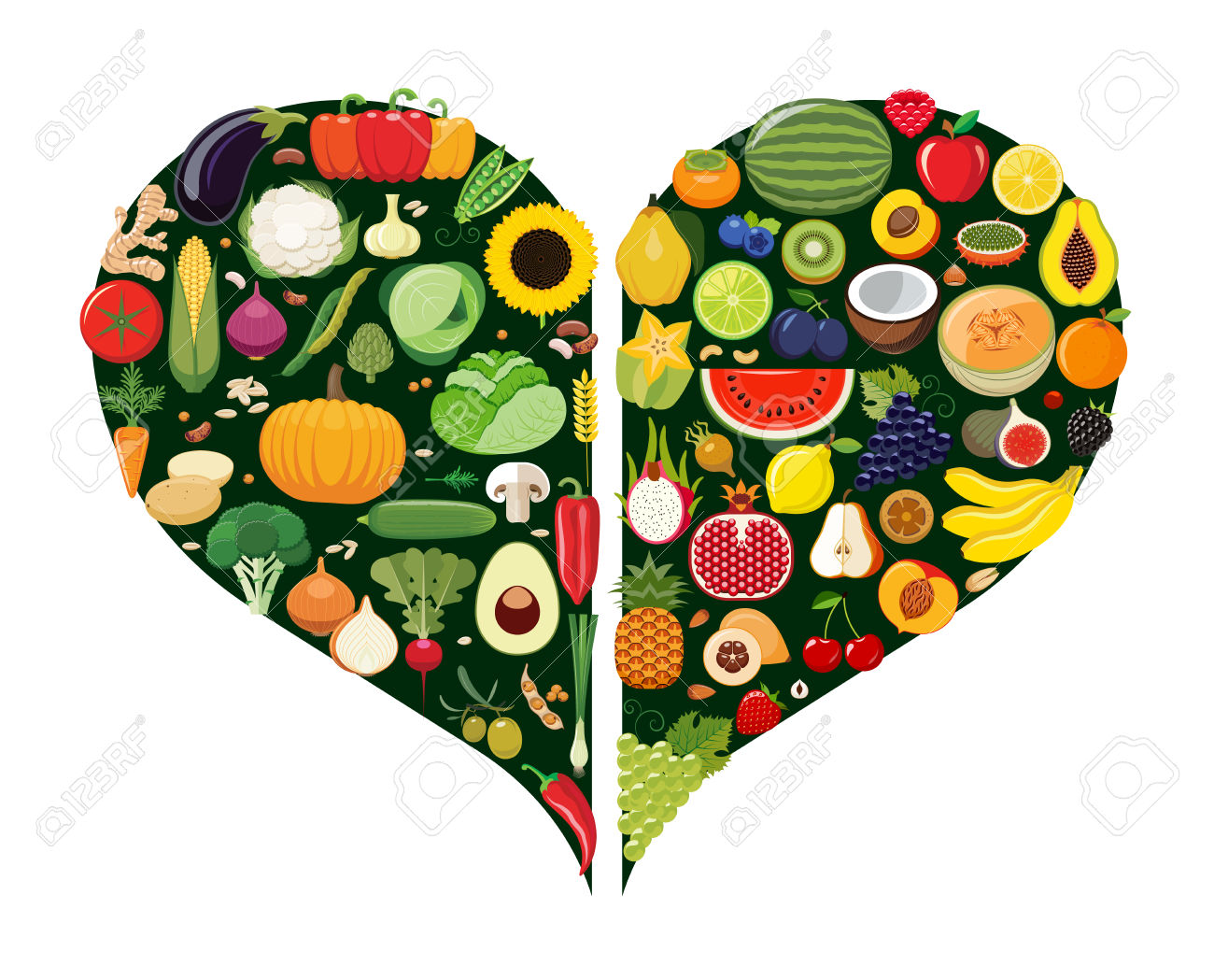 Set Of Fruit And Vegetable Icons Forming Heart Shape. Vegetarian.