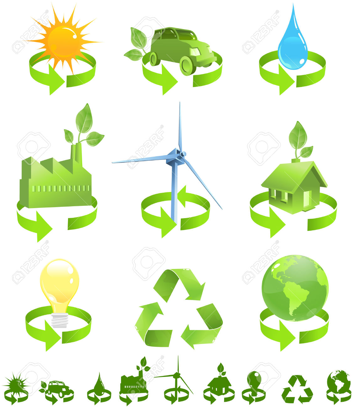 Green Vector Icons Show Forms Of Recycled Energy Including Sun.
