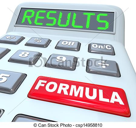 Clipart of Formula and Results Words on Calculator Budget Math.