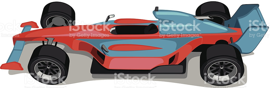 Red And Skyblue Formula One Car Overhead View stock vector art.