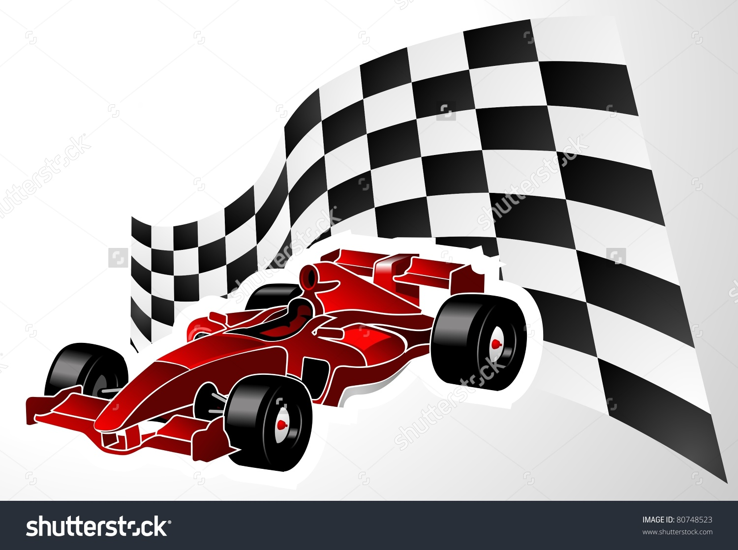 Red Formula One Car Flag Stock Vector 80748523.