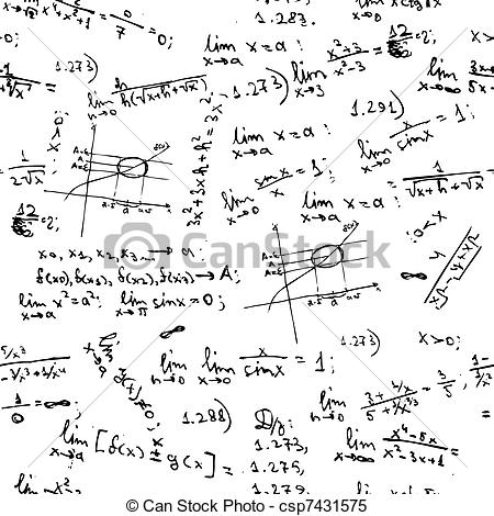 Clipart Vector of Seamless background with math formulas on.