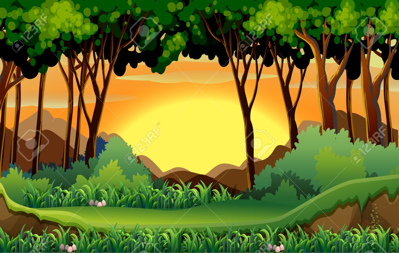 Illustration of a scene of a forest at sunset.