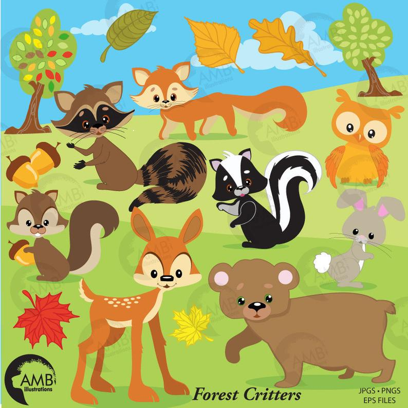 Forest Critters clip art, forest clipart, forest animal clipart, woodland  forest critters clipart, AMB.