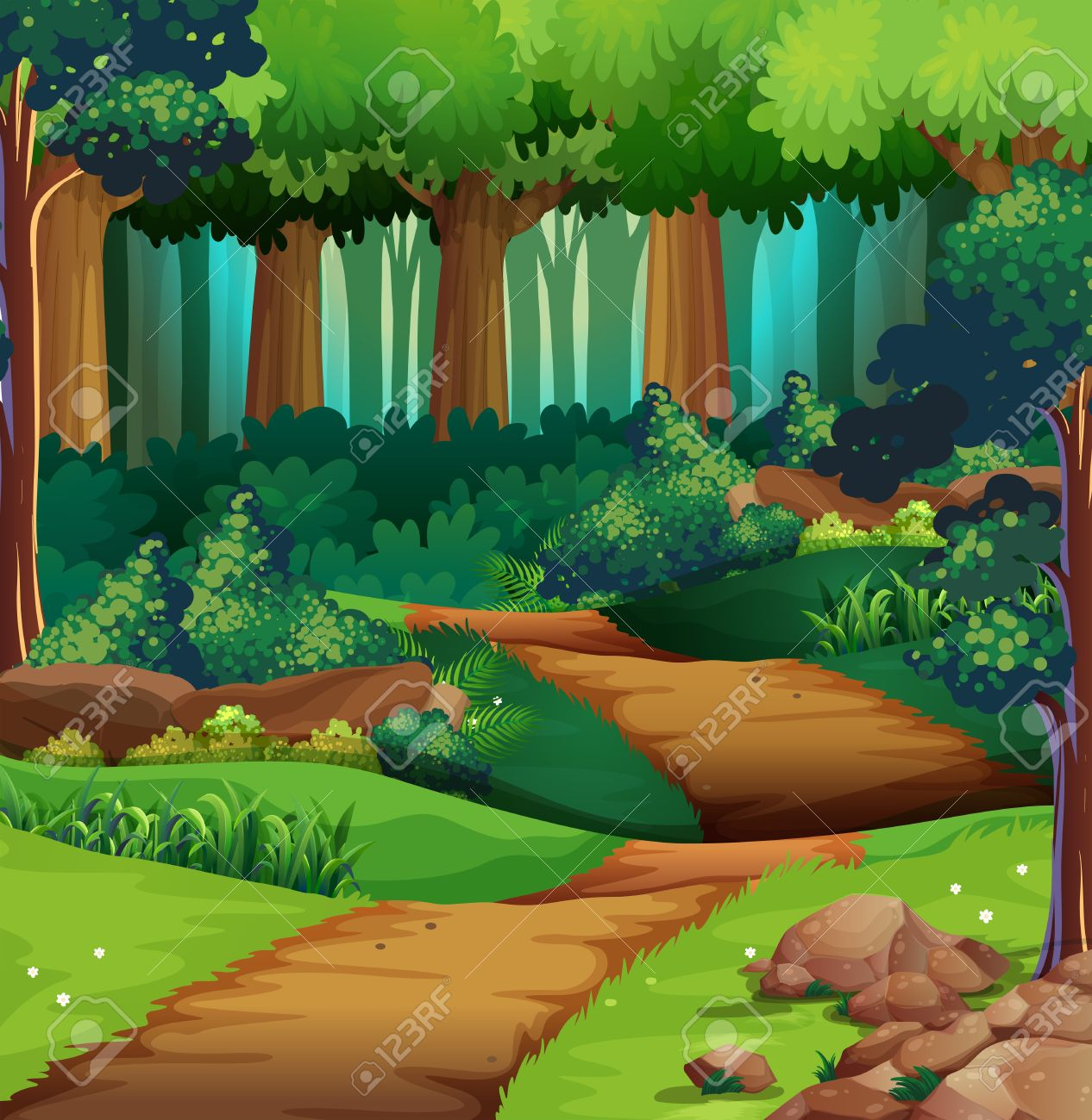 Forest scene with dirt trail illustration.