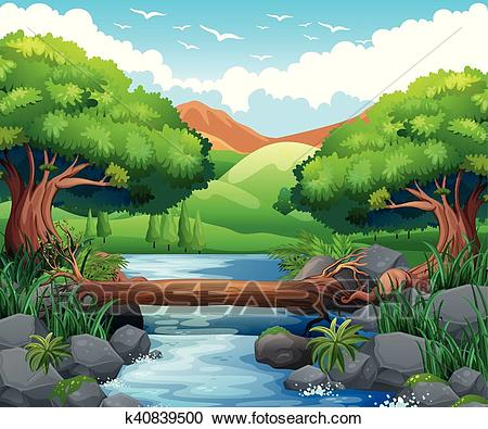 Scene with river through the forest Clipart.