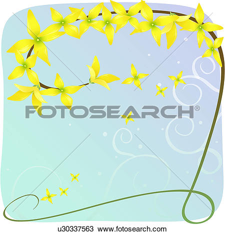 Clipart of blossom, plants, bloom, flowers, flower, forsythia.