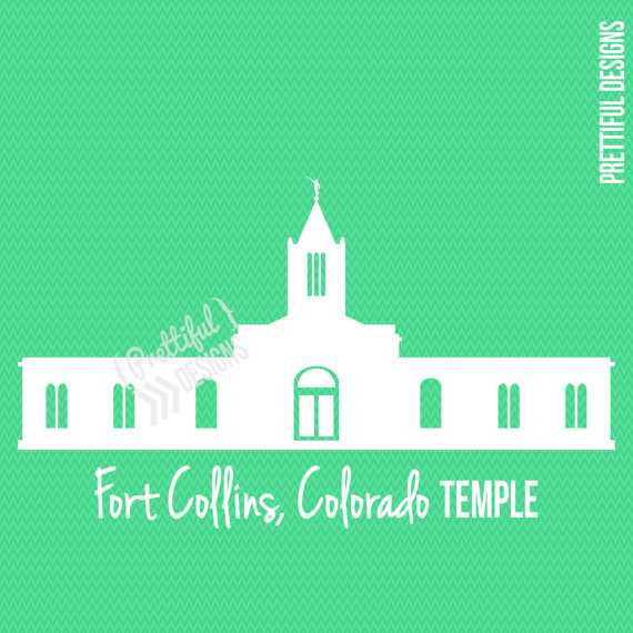Fort Collins Colorado LDS Mormon Clip Art Silhouette png eps.