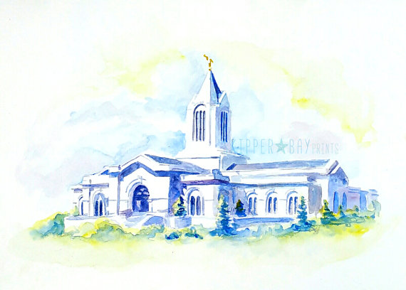 Fort Collins temple watercolor print. LDS Fort by SkipperBayPrints.