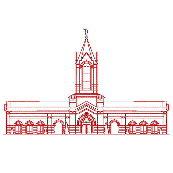 Fort Collins Colorado LDS Temple Redwork Embroidery Design by.
