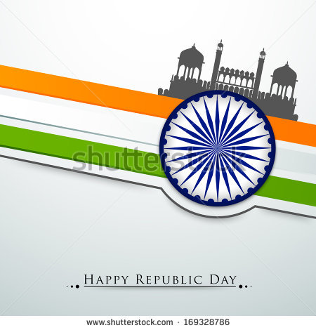 Happy Indian Republic Day Concept With Silhouette Of Red Fort On.