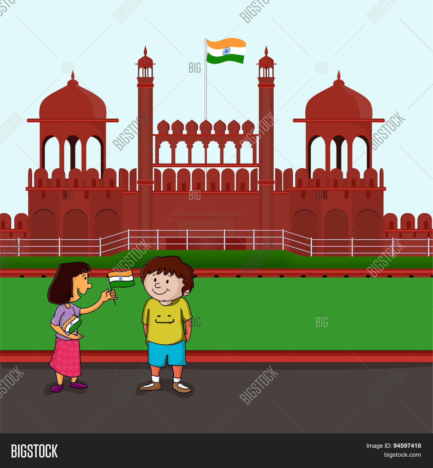 Cute little happy kids holding Indian national flag and.