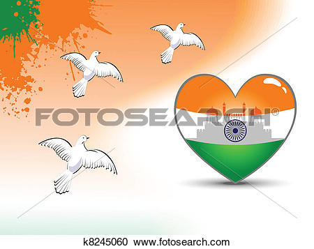 Clipart of Beautiful heart shape flag with red fort reflection and.