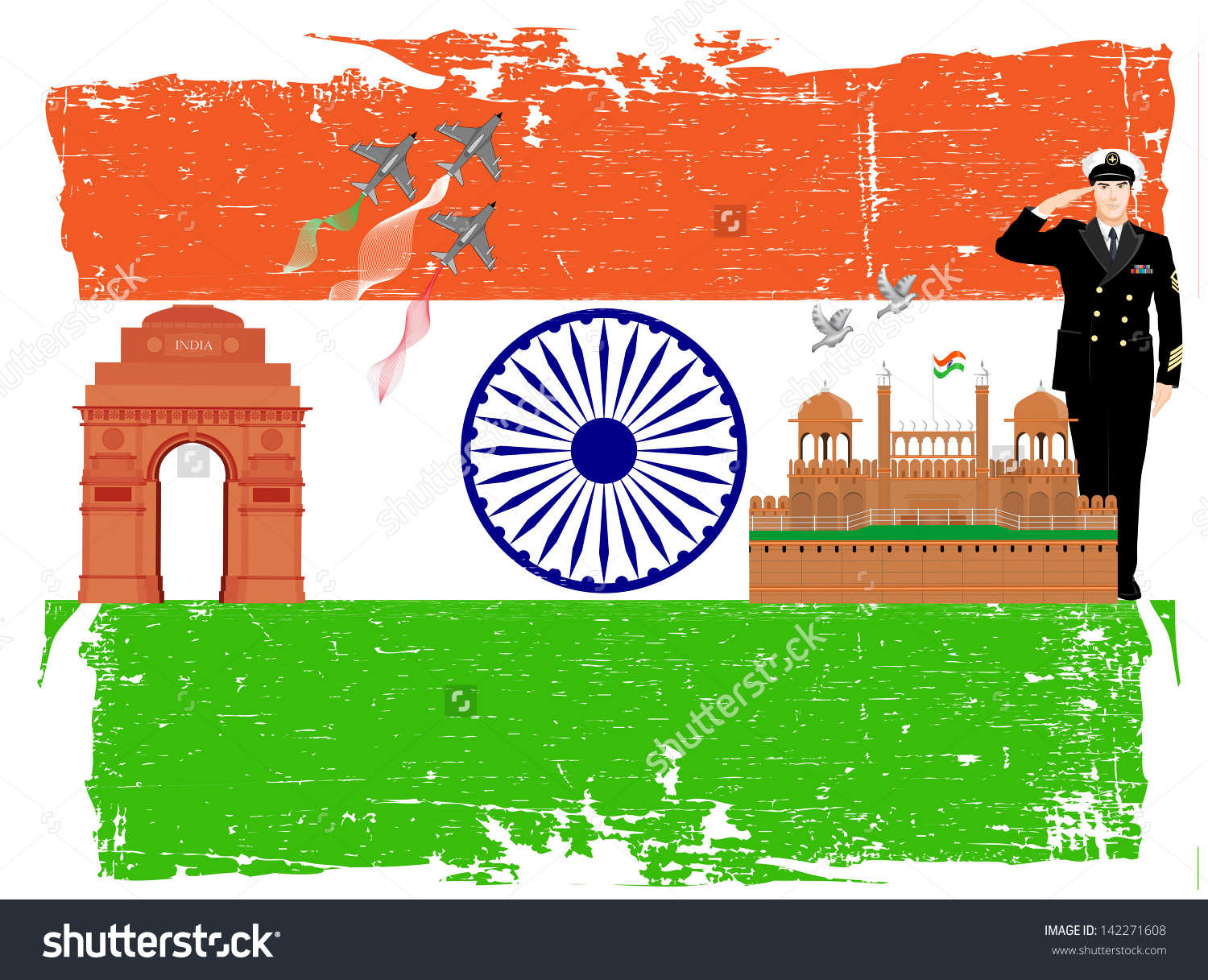 Indian Independence Republic Day Background Ashoka Stock Vector.